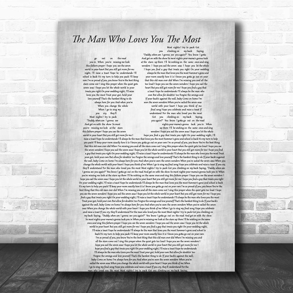 Zac Brown Band The Man Who Loves You The Most Father & Child Grey Song Lyric Print