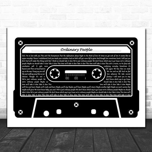 John Legend Ordinary People Black & White Music Cassette Tape Song Lyric Music Art Print