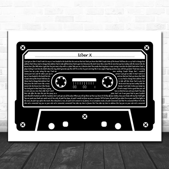 Jordy Uber X Black & White Music Cassette Tape Song Lyric Music Art Print