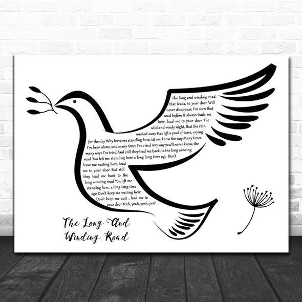 The Beatles The Long And Winding Road Black & White Dove Bird Song Lyric Music Art Print