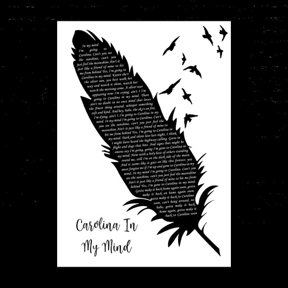James Taylor Carolina In My Mind Black & White Feather & Birds Song Lyric Music Art Print