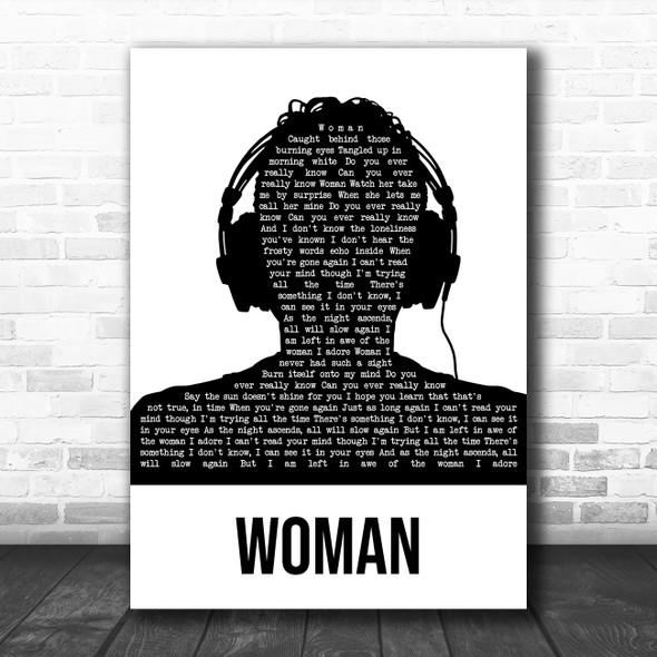 Mumford & Sons Woman Black & White Man Headphones Song Lyric Music Art Print
