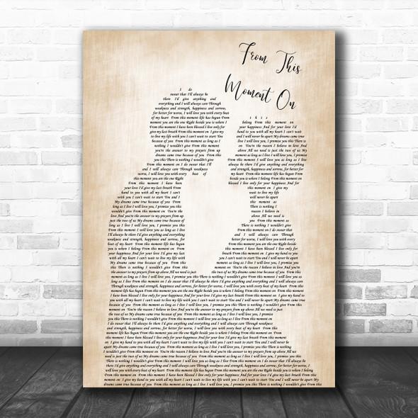Shania Twain From This Moment On Song Lyric Man Lady Bride Groom Wedding Music Wall Art Print
