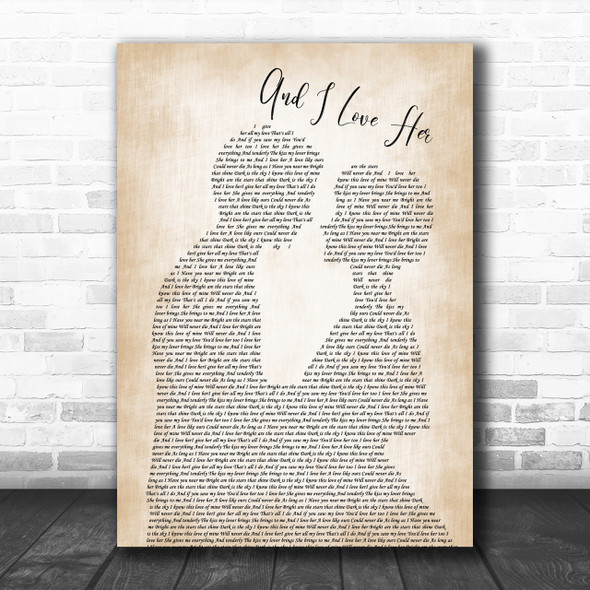 The Beatles And I Love Her Song Lyric Man Lady Bride Groom Wedding Music Wall Art Print