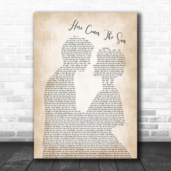 The Beatles Here Comes The Sun Song Lyric Man Lady Bride Groom Wedding Music Wall Art Print