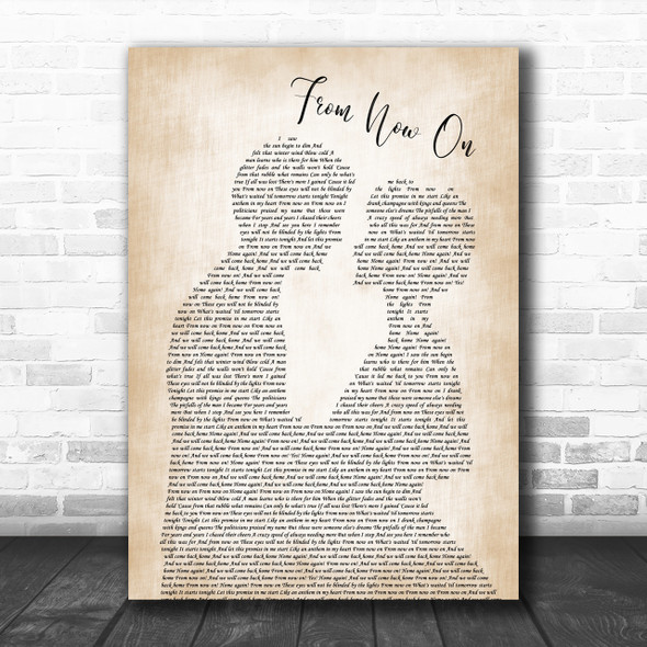 The Greatest Showman From Now On Song Lyric Man Lady Bride Groom Wedding Music Wall Art Print