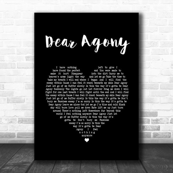 Breaking Benjamin Dear Agony Black Heart Song Lyric Music Art Print