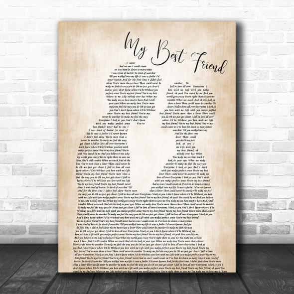 Tim McGraw My Best Friend Song Lyric Man Lady Bride Groom Wedding Music Wall Art Print