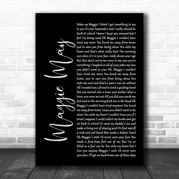 Rod Stewart Maggie May Black Script Song Lyric Music Art Print