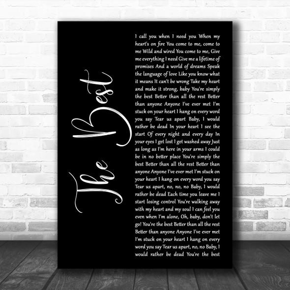 Tina Turner The Best Black Script Song Lyric Music Art Print
