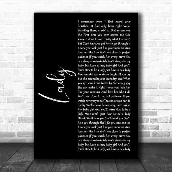 Brett Young Lady Black Script Song Lyric Music Art Print