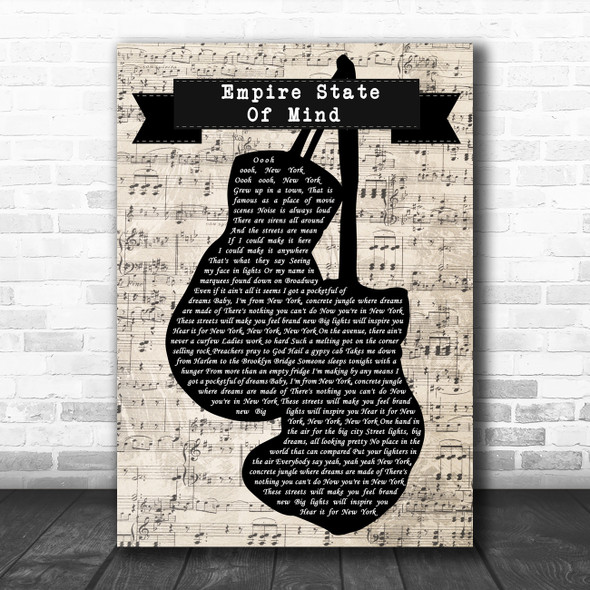 Alicia Keys Empire State Of Mind Music Script Boxing Gloves Song Lyric Music Art Print