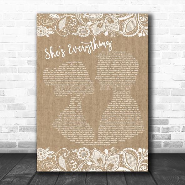 Brad Paisley She's Everything Burlap & Lace Song Lyric Music Art Print