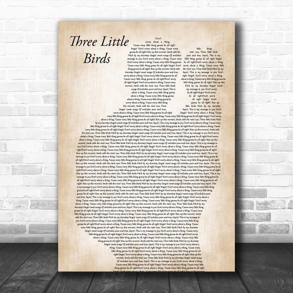 Bob Marley Three Little Birds Father & Baby Song Lyric Music Art Print