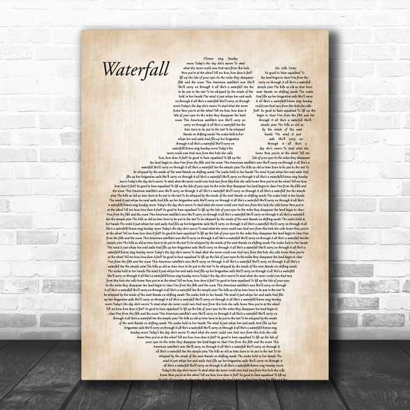 The Stone Roses Waterfall Father & Baby Song Lyric Music Art Print