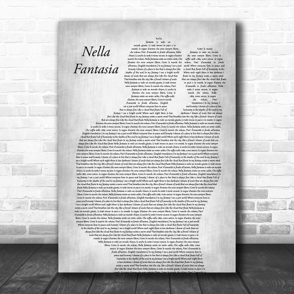 Sarah Brightman Nella Fantasia Father & Baby Grey Song Lyric Music Art Print