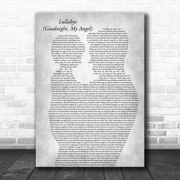 Billy Joel Lullabye (Goodnight, My Angel) Father & Child Grey Song Lyric Music Art Print