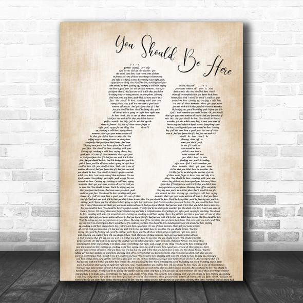 Cole Swindell You Should Be Here Man Lady Bride Groom Wedding Song Lyric Music Wall Art Print