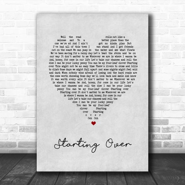 Chris Stapleton Starting Over Grey Heart Song Lyric Music Art Print