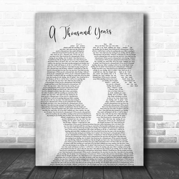 Christina Perri A Thousand Years Lesbian Women Gay Brides Couple Wedding Grey Song Lyric Music Art Print
