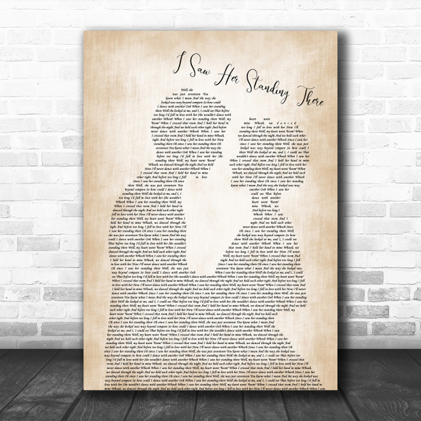 The Beatles I Saw Her Standing There Man Lady Bride Groom Song Lyric Music Wall Art Print