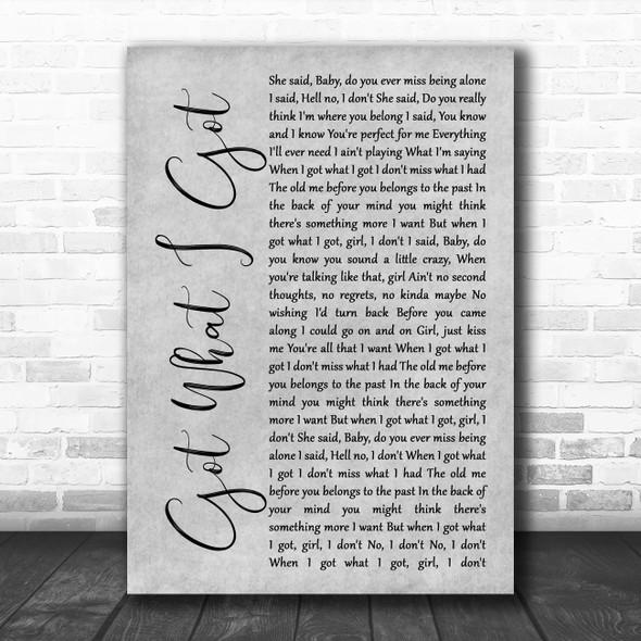 Jason Aldean Got What I Got Grey Rustic Script Song Lyric Music Art Print