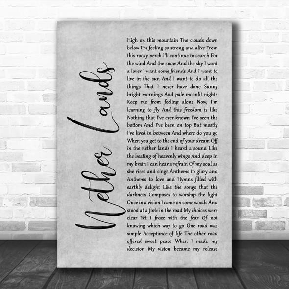 Dan Fogelberg Nether Lands Grey Rustic Script Song Lyric Music Art Print