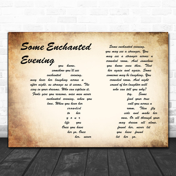South Pacific Some Enchanted Evening Man Lady Couple Song Lyric Music Art Print
