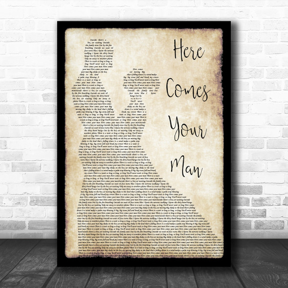 Pixies Here Comes Your Man Man Lady Dancing Song Lyric Music Wall Art Print