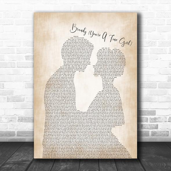 Looking Glass Brandy (You're A Fine Girl) Man Lady Bride Groom Wedding Song Lyric Music Art Print