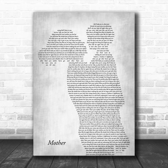 Sugarland Mother Mother & Child Grey Song Lyric Music Art Print
