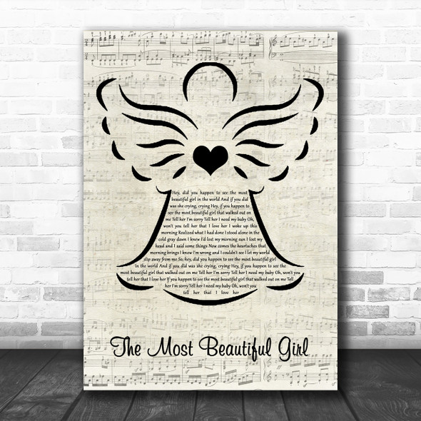 Charlie Rich The Most Beautiful Girl Music Script Angel Song Lyric Music Art Print