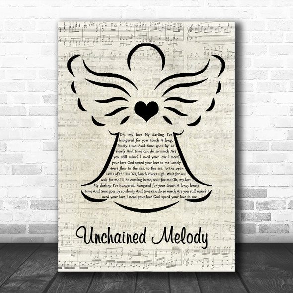 The Righteous Brothers Unchained Melody Music Script Angel Song Lyric Music Art Print