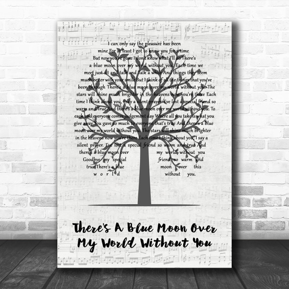 Daniel O'Donnell There's A Blue Moon Over My World Without You Music Script Tree Song Lyric Music Art Print