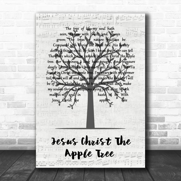 Poston E Jesus Christ the apple tree Music Script Tree Song Lyric Music Art Print