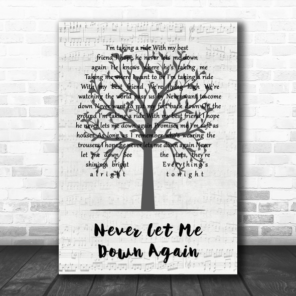 Depeche Mode Never Let Me Down Again Music Script Tree Song Lyric Music Art Print
