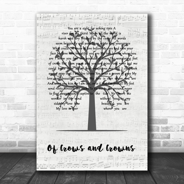 Dustin Kensrue Of Crows and Crowns Music Script Tree Song Lyric Music Art Print