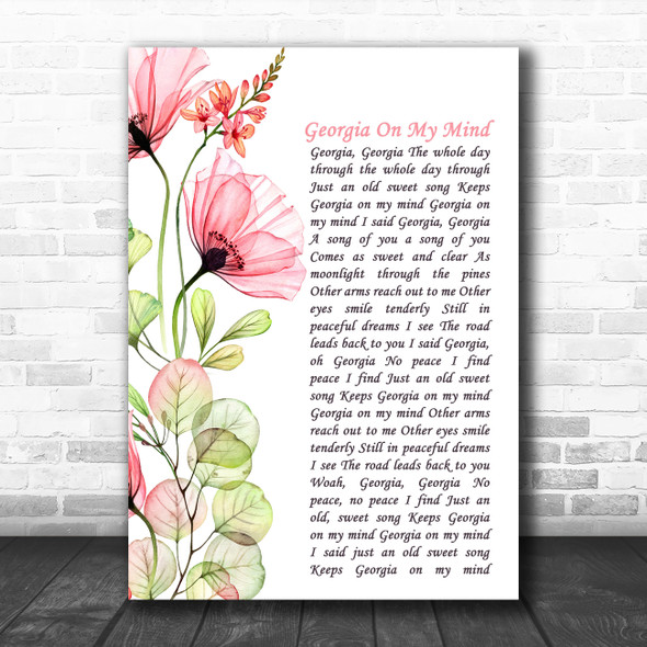 Ray Charles Georgia On My Mind Floral Poppy Side Script Song Lyric Music Art Print