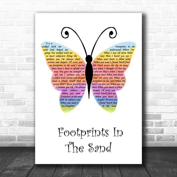 Leona Lewis Footprints In The Sand Rainbow Butterfly Song Lyric Music Art Print