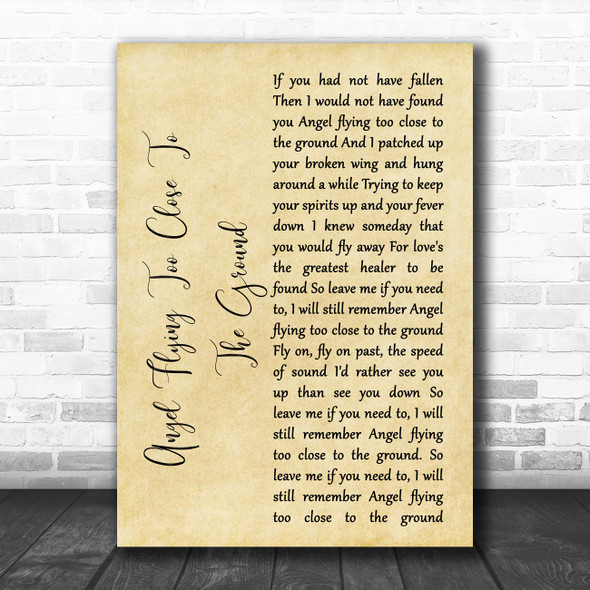 Willie Nelson Angel Flying Too Close To The Ground Rustic Script Song Lyric Music Art Print