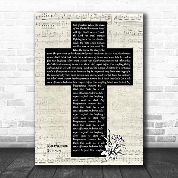 Depeche Mode Blasphemous Rumours Music Script Christian Memorial Cross Song Lyric Music Art Print