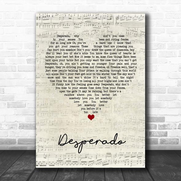 Eagles Desperado Script Heart Song Lyric Music Art Print