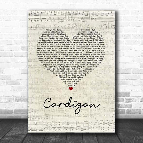 Taylor Swift Cardigan Script Heart Song Lyric Music Art Print