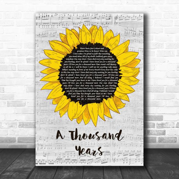 Christina Perri A Thousand Years Grey Script Sunflower Song Lyric Music Art Print