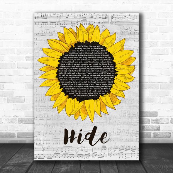 Juice Wrld Hide Grey Script Sunflower Song Lyric Music Art Print