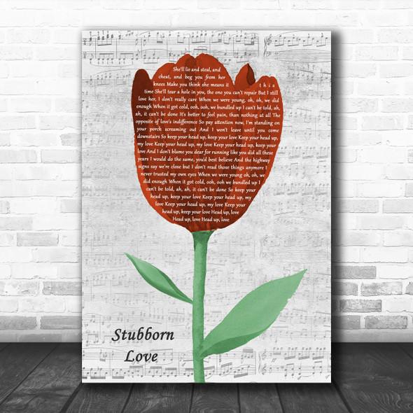 The Lumineers Stubborn Love Grey Script Watercolour Tulip Song Lyric Music Art Print