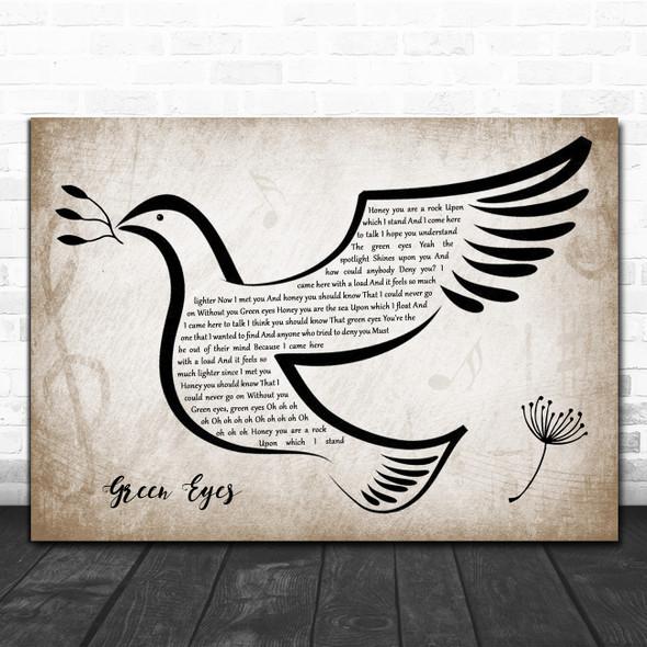 Coldplay Green Eyes Vintage Dove Bird Song Lyric Music Art Print