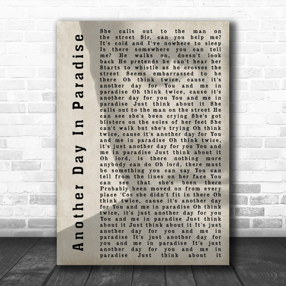 Phil Collins Another Day In Paradise Shadow Song Lyric Music Wall Art Print