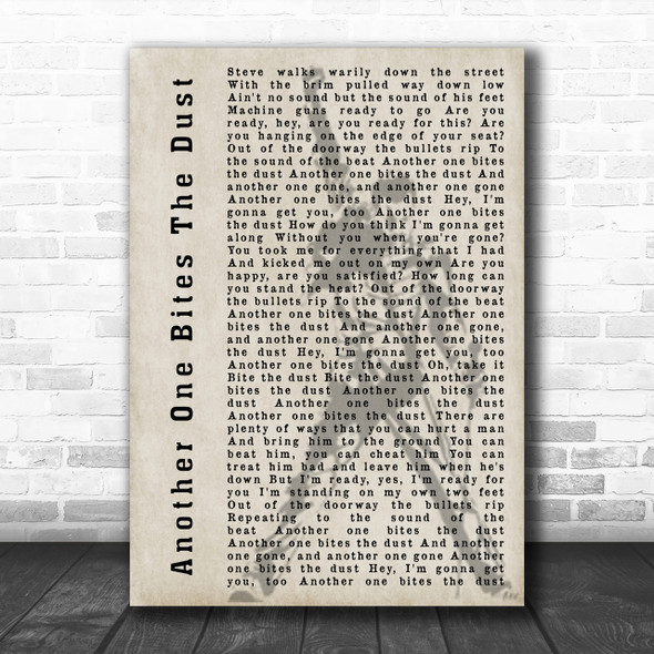 Queen Another One Bites The Dust Freddie Mercury Silhouette Song Lyric Music Wall Art Print
