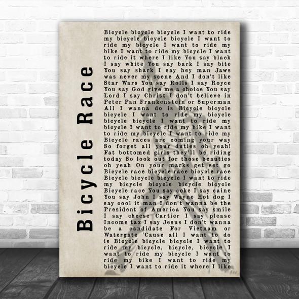 Queen Bicycle Race Freddie Mercury Silhouette Song Lyric Music Wall Art Print